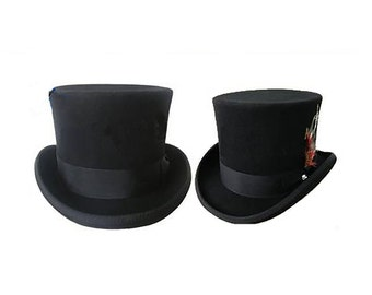 STTHBA - Black Wool Felt Top Hat in sizes 55-61cm circumference.