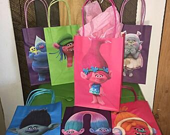 Trolls Poppy Theme Birthday Party Favor Bags poppy dj suki bergen bridget cooper biggie branch twins 1 dozen candy bags 12 paper goodie bags
