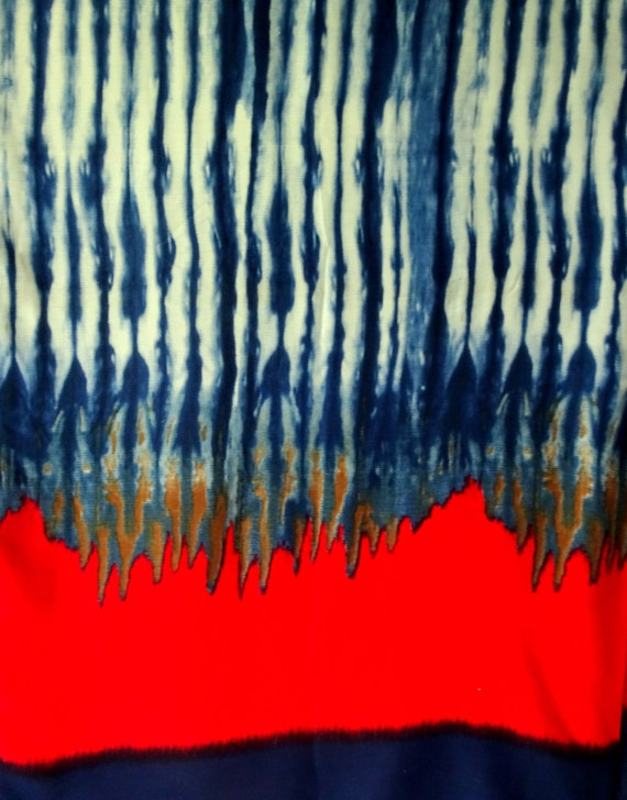 Indigo blue Rayon Cotton, Orange red Rayon, dual color fabric, indian fabric,  shibori print rayon, dress fabric, HALF YARD