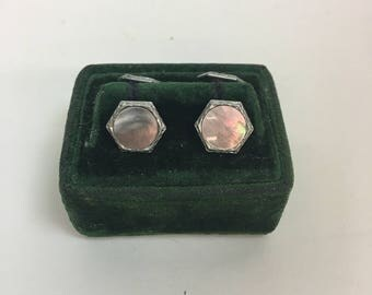 Vintage 1920s 1930s MOP Mother of Pearl Abalone Gold double Sided Mens Cufflinks