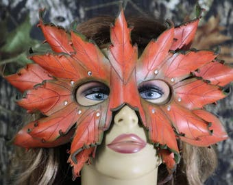 leather double layer autumn leaf mask