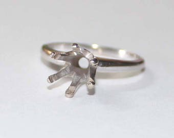 6 Prong Solitaire Ring Setting 14k white gold - 7 size - sku 3054b1