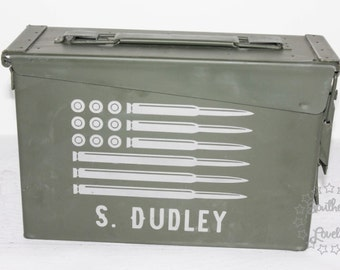Personalized Bullet Flag Ammo Can - 30 cal Ammo Box