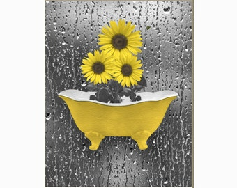 Sunflowers Raindrops Yellow Bathroom, Powder Room Wall Art Home Decor Matted Picture