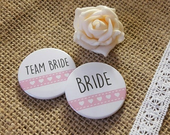 Heart Hen Do / Wedding / Team Bride / Bride Tribe Badge (A Set) Pink ribbon