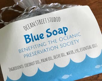 Blue Soap - Benefiting the Oceanic Preservation Society - Lightly Scented All-Natural Cold Process Vegan Soap