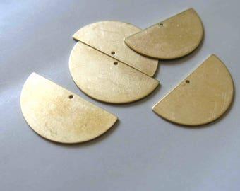 50pcs Raw Brass Half Round Charms,Stamping Tag, 30mmx15.5mm - F434