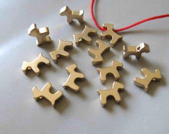 50pcs Raw Brass Dog Charms,Pendants 11mmx7mm - F458