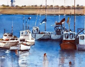 Boat Painting French Atlantic ocean original watercolor France 11 x 15