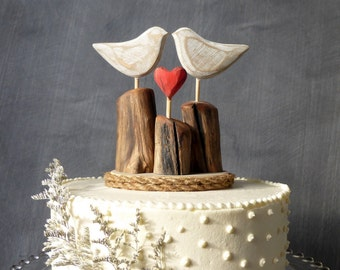 Rustic Beach Wedding Cake Topper,  Wood Love Birds Topper, Rustic Wedding Cake Topper, Beach Cake Topper with Driftwood