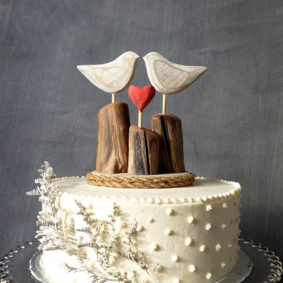 rustic wedding cake toppers uk rustic wedding cake topper wood birds topper 19588