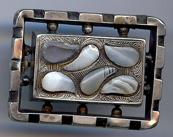 ANTIQUE SCOTTISH SILVER paisley shapes pebble agate pin brooch*