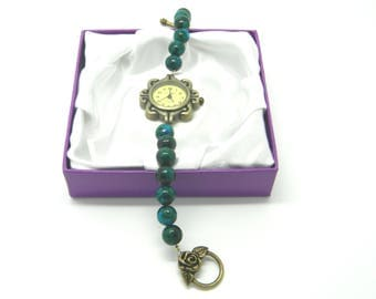 Retro Bronze Quartz Chrysocolla Beaded Watch Bracelet