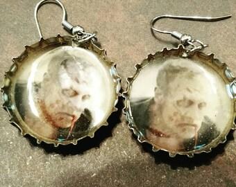 Dead Merle bottle cap earrings