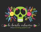 Sugar Skull Shop Branding Banners, Avatar Icons, Business Card, Logo Label + More - 13 Premade Graphics Files - LA BONITA CALAVERA