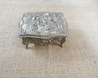 Silver Vintage Jewelry Trinket Box, 1950s, Japan