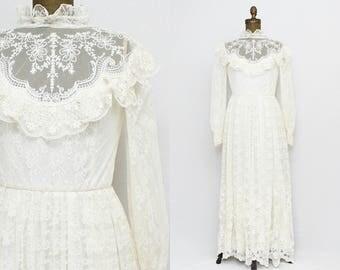 Lace Bohemian Wedding Dress - Vintage 1970s Union Label White Prairie Wedding Gown and Veil