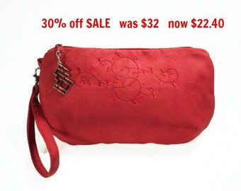 Red Faux Suede Clutch, Zipper Wristlet, Clutch With Embroidered Design, Red Faux Suede Wristlet, Red Clutch, Red Wristlet, Red Purse