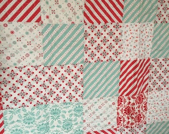 Red and Teal Lap Quilt