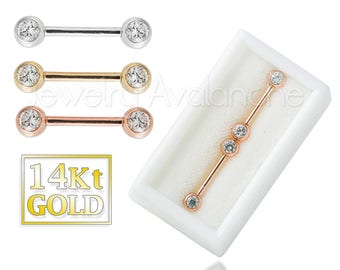 14Kt Gold Nipple Barbell Ring, 14G Nipple Piercing Ring, 14kt Rose Gold, 14kt Yellow Gold, 14kt White Gold, Sold as Pair, Body Jewelry