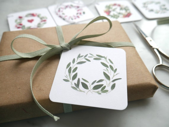Gift tags ~  botanical art ~ green and red ~ set of 5
