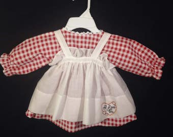 Dress and Apron for 25 inch Raggedy Ann Doll, Dark Red and White Check Print Dress, Embroidered Apron