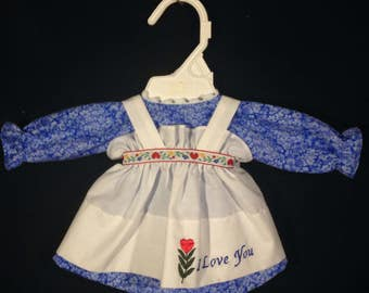 Dress and Apron for 15 INCH Raggedy Ann Doll,Light Blue Flowers on Medium Blue background dress, embroidered apron, optional personalization