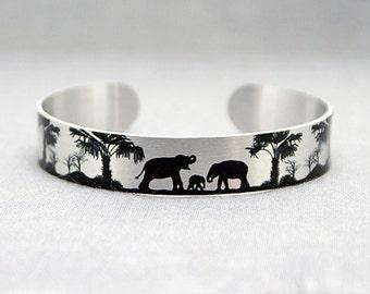 Elephant jewellery, brushed silver cuff bracelet, metal bangle with black elephants. Animal elephant lover gift. Recylced eco friendly. S506
