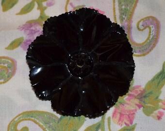 Vintage Black Enamel Flower Brooch