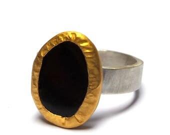 Onyx Ring - Gold Ring - 24 k gold ring - Sterling Silver Ring - Gemstone ring - Free Shipping!!!