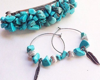 Turquoise Wire Wrapped Barrette & Earrings Set Handmade