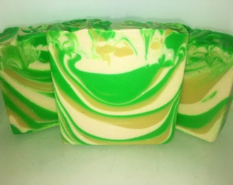 Bergamot and White tea scented Handmade Soap, pretty soap bar, fancy soap bar, green soap bar, yellow soap bar