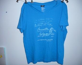 bruxelles,Belgique brussels Blue v.neck T-Shirt medium h&m tees t-shirts casual tops cycling eddy merckx hipster tops velo original basics