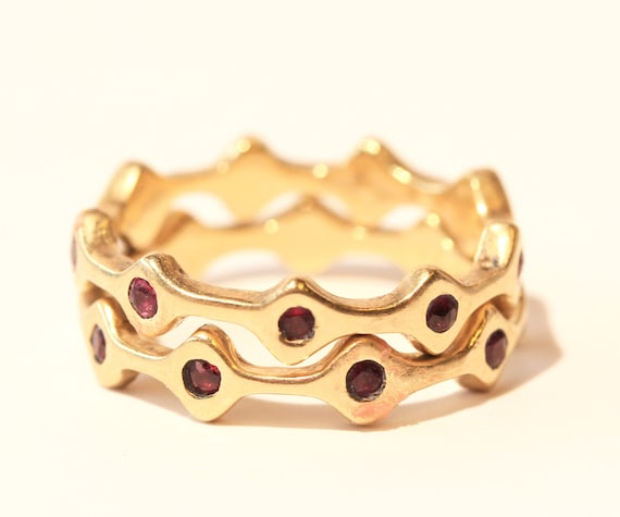 Stackable Gold Ring Bands - MADE TO ORDER - Choose Gemstones - Order 1, 2 or 3 Bands - Yellow/White Gold - Add Opal Ring