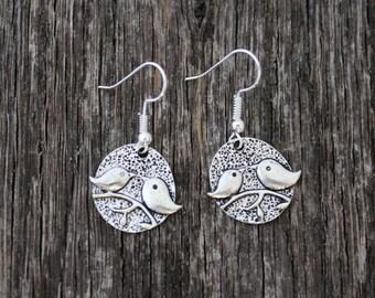 Sterling Silver Plated Bird Earrings