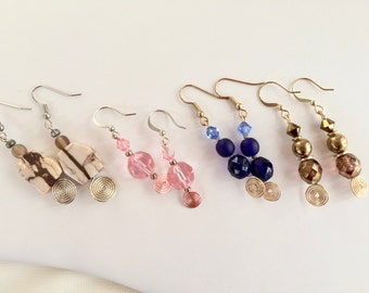 Bronze Blue Color Czech Glass Swarovski Crystal Dangling Earrings Beaded Drop Earring Gold Plated Wire Work Affordable Jewelry Accessories