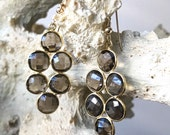 Smoky Topaz Bezel Gemstone Earrings