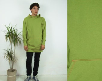 90's vintage men's green minimal long maxi hoodie