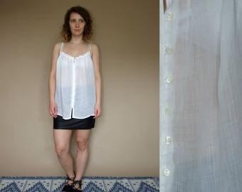 90's vintage women's white cotton summer top
