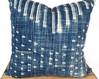 "SALE 22"" Inch Vintage Indigo Mud Cloth Pillow Cover Mudcloth Pillow"