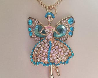 Gold Fairy Necklace, Blue Faceted Necklace, Pink Faceted Gemstone, Gold Gemstone Necklace, Fairy Gifts, Pink Gemstone Necklace