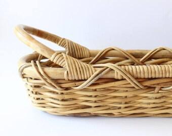 SALE Vintage Basket Planter Bamboo Long Skinny Basket Planter Boho Home Decor