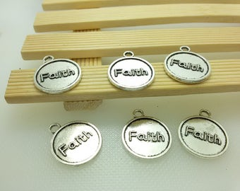 20  pcs Double sided Faith Charms -Faith Pendants   -Faith Tags -Faith Logo -- 10 mm x 11mm