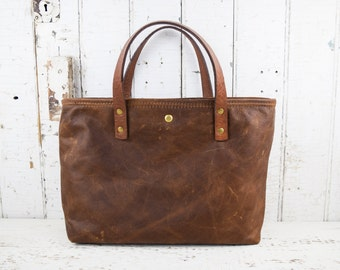 Distressed Brown Leather Tote Bag Purse with Repurposed Antique Textiles