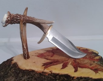 White tail deer antler knife, veteran made, stub nose edition! Free shipping! Lifetime warranty