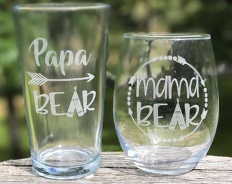 Papa Bear Glass, Personalized  Glasses, Engraved Wine Glass, Engraved Beer Mug, Mama Bear Glass, Dad Gift
