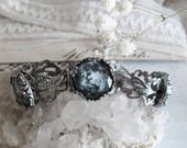 Precious Moon . mystical ring with full moon adjustable gothique silvery ring pagan witchcraft magic jewelry .
