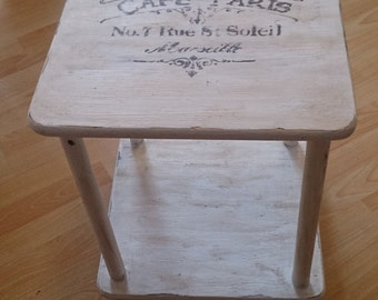 Side table in the shabby style vintage art table