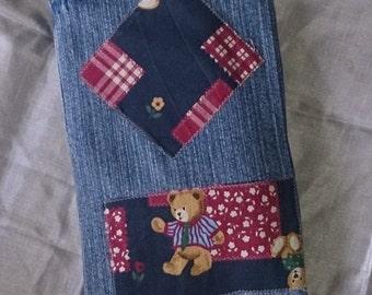 Jeans diaper bag + bear motive + baby +.