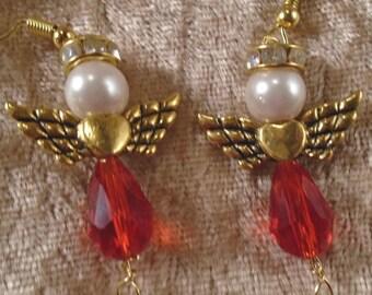 Swarovski Crystal Loving Angel Pierced Earrings In Goldtone, Topaz,Red,Green, Amber & Aquamarine FREE SHIPPING